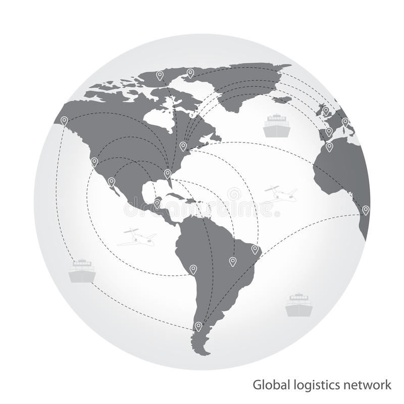 Transport global de réseau de logistique Association globale de logistique de carte illustration stock