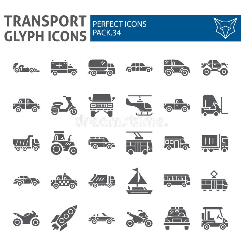 Transport glyph icon set, vehicle symbols collection, vector sketches, logo illustrations, traffic signs solid. Pictograms package isolated on white background royalty free illustration