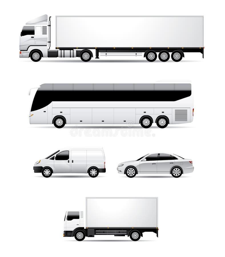 Transport i pojazdy - naczepa Przewozi samochodem, Trenuje, Van, sedan, ciężarówka ilustracji