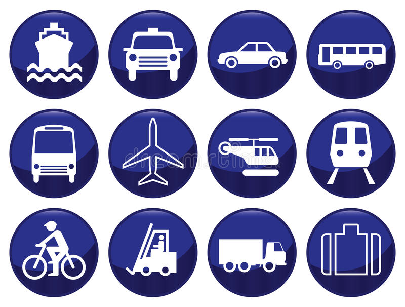 Transport icon set. Each icon individually layered stock illustration