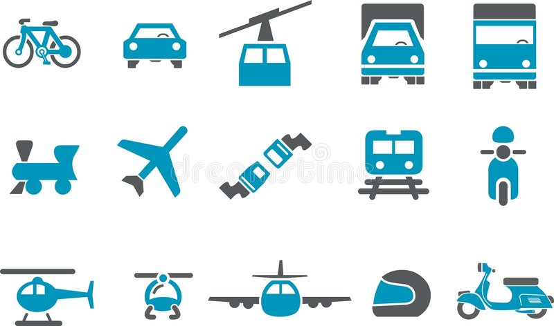 Transport Icon Set. Vector icons pack - Blue Series, transport collection stock illustration