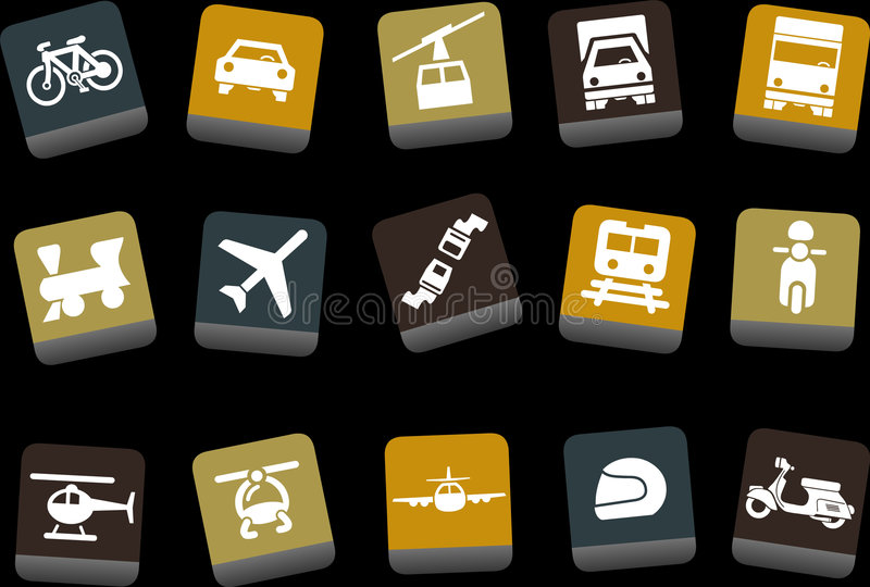 Transport Icon Set. Vector icons pack - Yellow-Brown-Blue Series, transport collection royalty free illustration