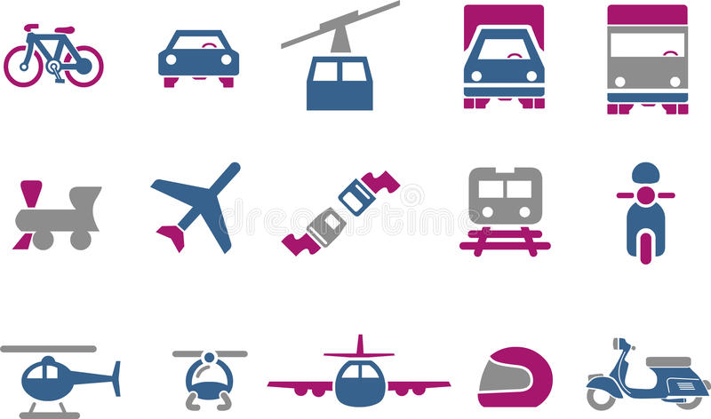 Transport Icon Set. Vector icons pack - Blue-Fuchsia Series, transport collection stock illustration
