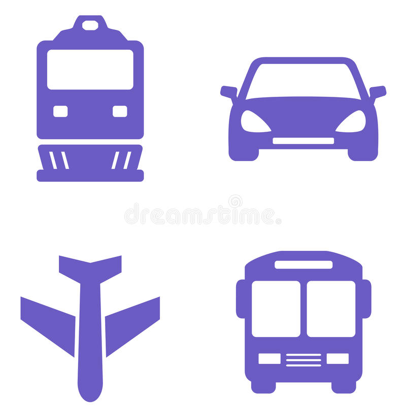Transport icon set with train, plane, car and bus. Silhouette stock illustration