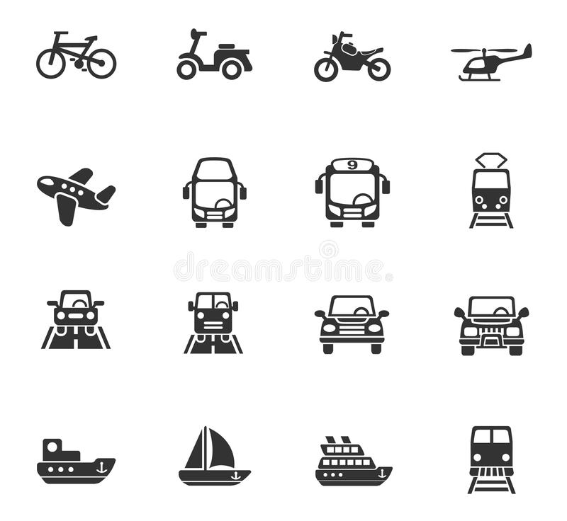 Transport icon set. Transport web icons for user interface design royalty free illustration