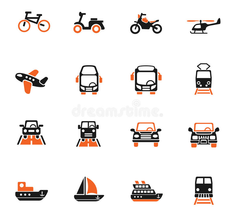 Transport icon set. Transport web icons for user interface design stock illustration