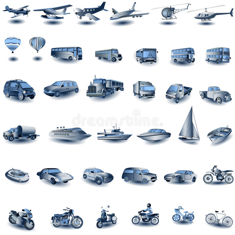 Transport icons stock photo