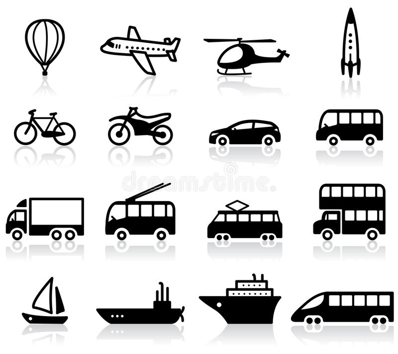 Transport icons. Set of 16 transport icons