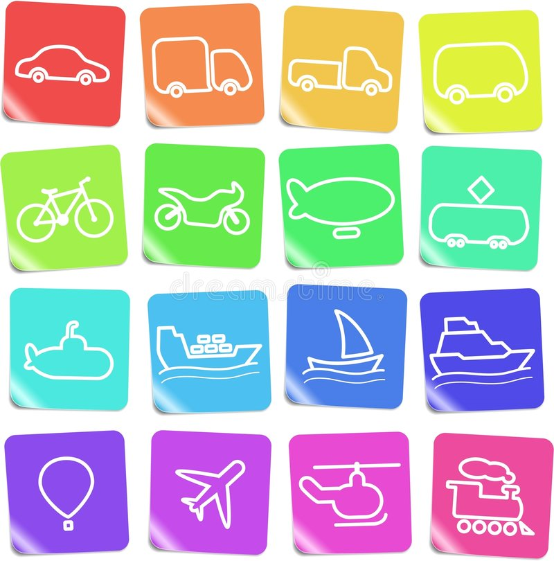Transport icons. Travel and transportation vector icons, rainbow style royalty free illustration