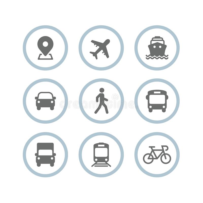 Transport icons. Airplane, Public bus, Train, Ship/Ferry, Car, walk man, bike, truck and auto signs. Shipping delivery symbol. Air stock illustration