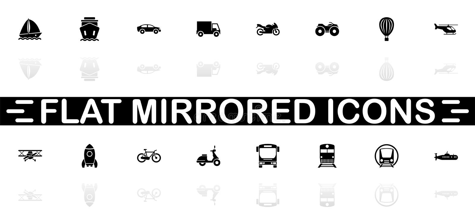Transport - Flat Vector Icons. Transport icons - Black symbol on white background. Simple illustration. Flat Vector Icon. Mirror Reflection Shadow. Can be used vector illustration