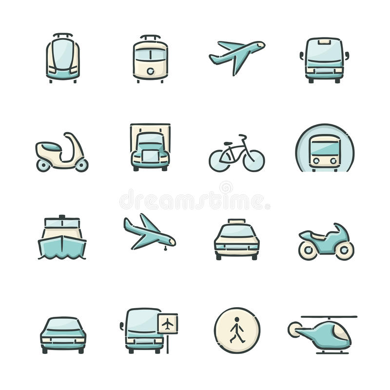 Transport Icons. Hand drawn blue and beige transport icons. File format is EPS8 stock illustration