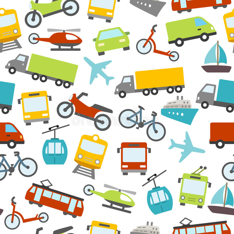 Transport Icons Seamless Pattern royalty free illustration