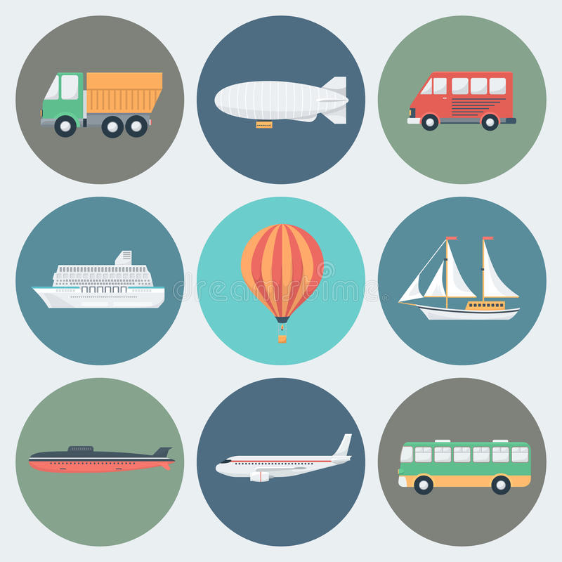 Transport Icons Set. Transport Circle Icons Set in Trendy Flat Style royalty free illustration