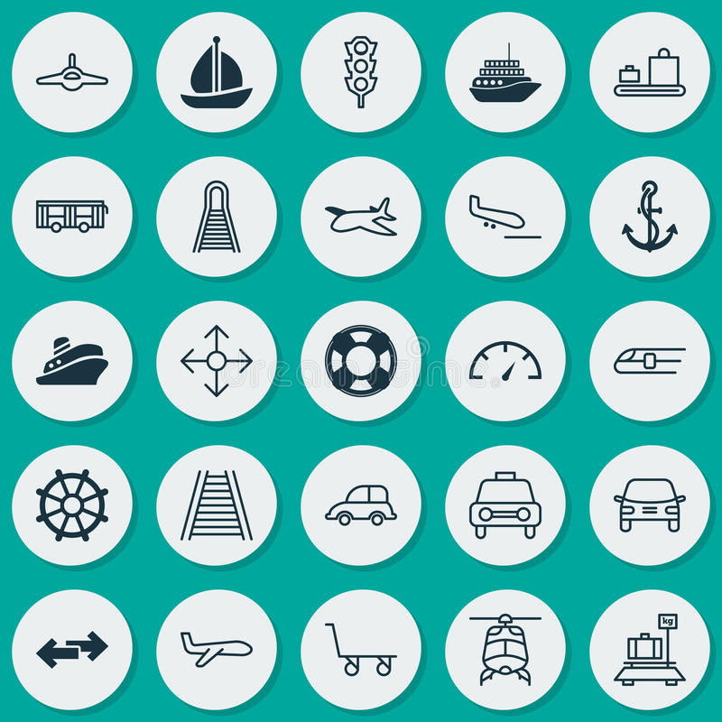 Transport Icons Set. Collection Of Air Transport, Anchor, Travel Boat And Other Elements. Also Includes Symbols Such As vector illustration