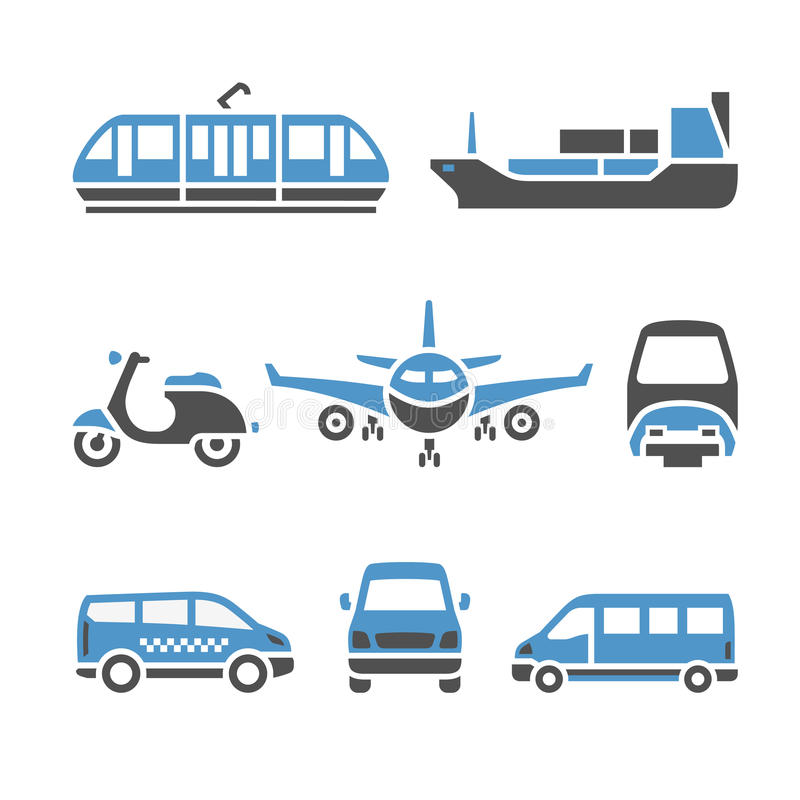 Transport Icons - A set of ninth. Vector illustrations, set silhouettes isolated on white background. Bicolor (blue and gray colors stock illustration