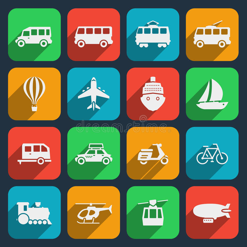 Transport icons set. Taxi and train, motorcycle and moped, boat and airplane, helicopter and bicycle. Vector illustration vector illustration