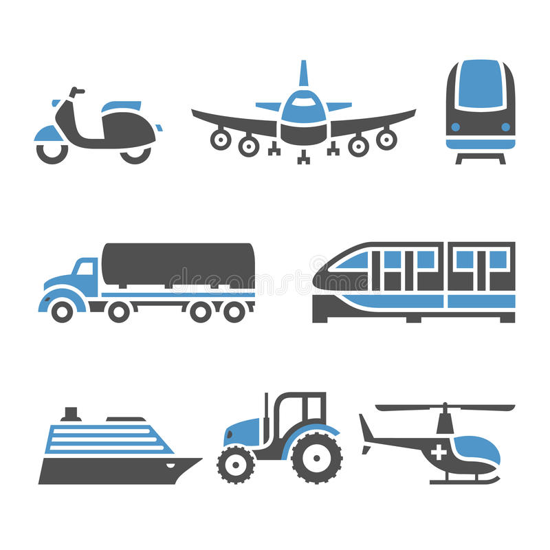 Transport Icons - A set of tenth. Vector illustrations, set silhouettes isolated on white background. Bicolor (blue and gray colors royalty free illustration