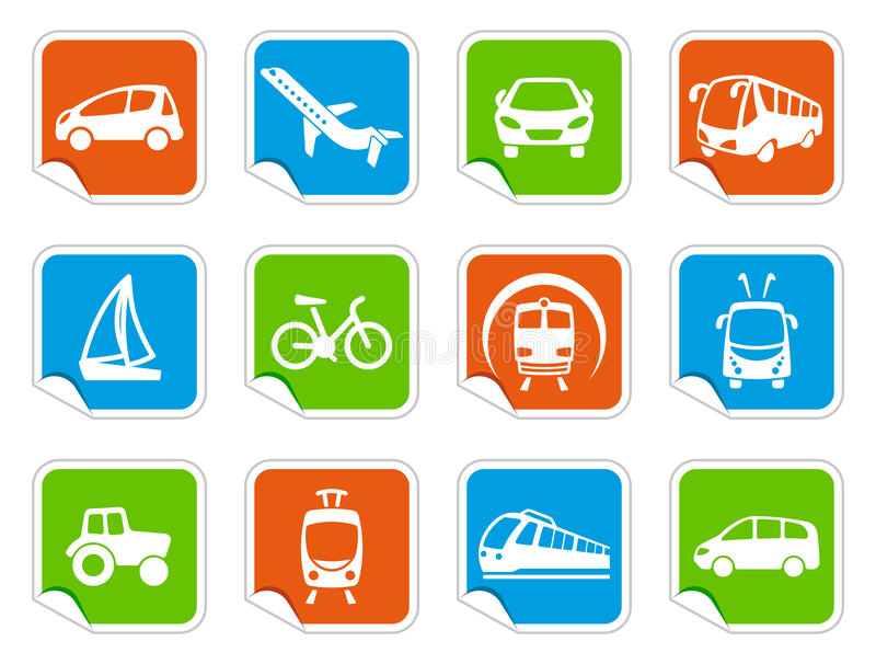 Download Transport Icons On Stickers Stock Vector - Image: 26787265