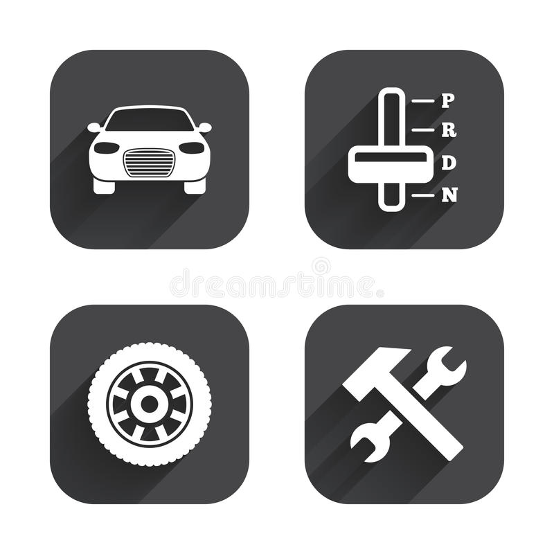 Transport icons. Tachometer and repair tool. Transport icons. Car tachometer and automatic transmission symbols. Repair service tool with wheel sign. Square stock illustration