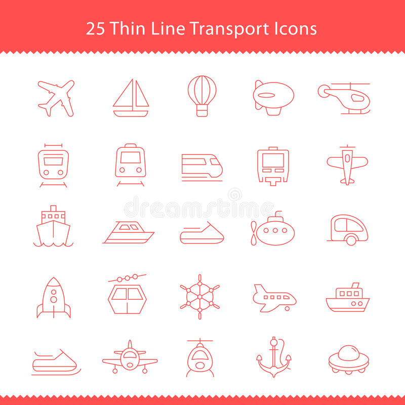 Transport icons Thinline Stroke vector illustration
