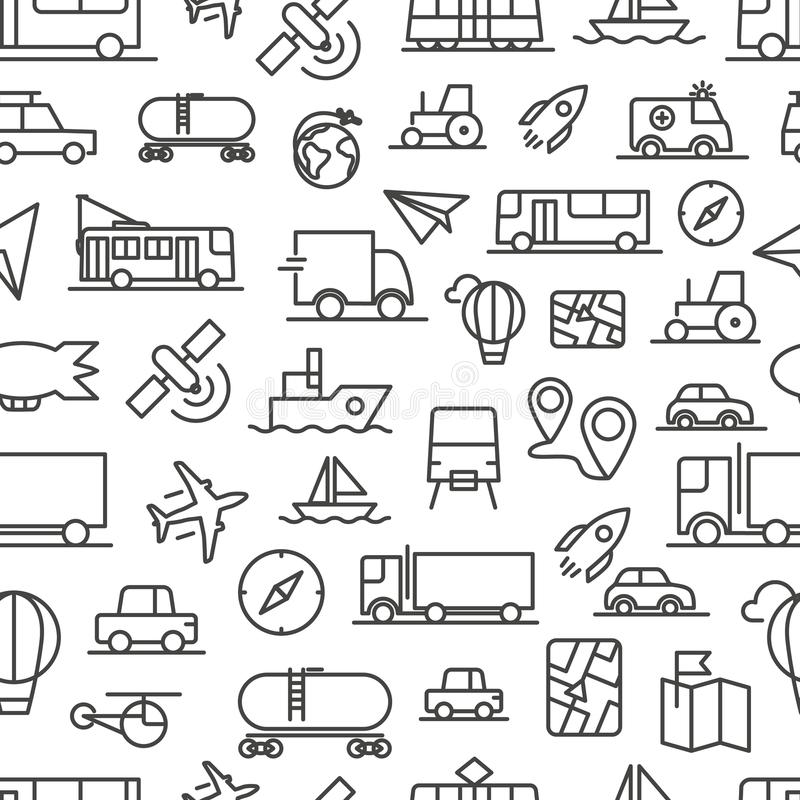 Transport icons vector seamless pattern royalty free illustration