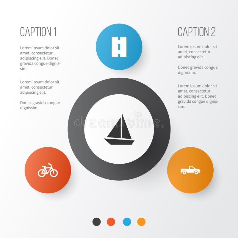 Transport ikony Ustawiać Kolekcja sposób, kabriolet, jacht I Inni elementy, Także Zawiera symbole Tak jak sposób, kabriolet ilustracji