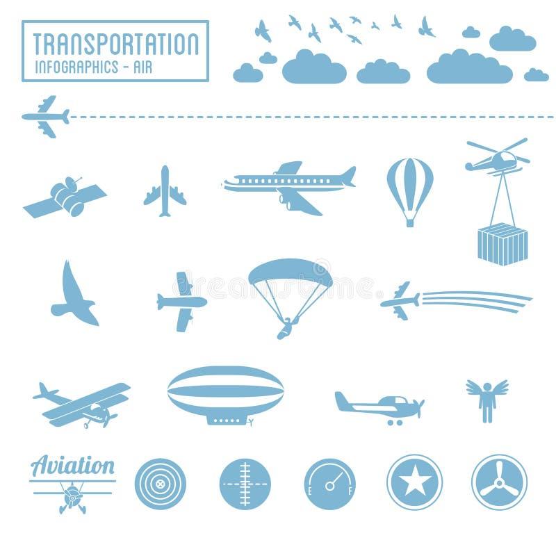 Transport ikony ustawiać - lotniczy symbole royalty ilustracja