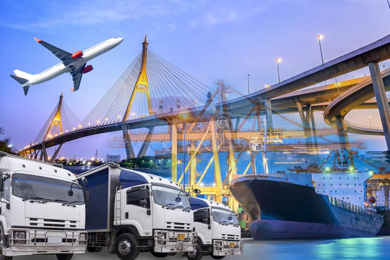 Transport import and export logistic communications concept with truck cargo ship stock images