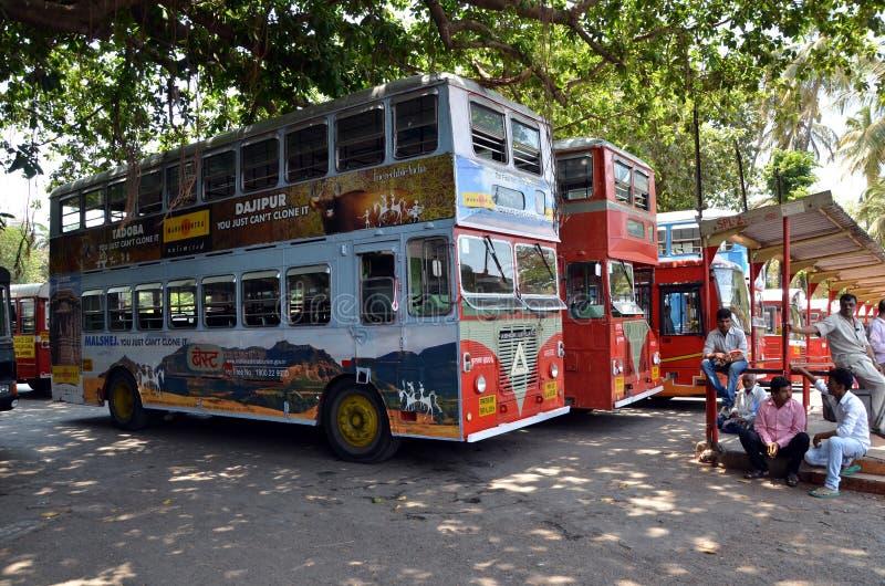 Transport in India. MUMBAI, INDIA - MAY 18, 2013 - Parking of bright double decker buses in Mumbai, India stock image