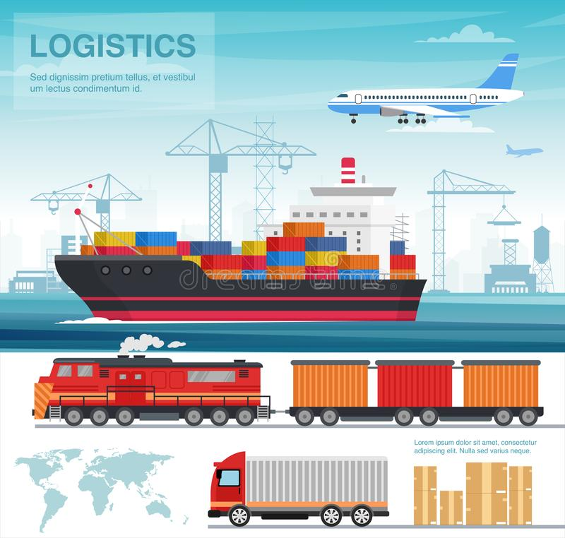 Transport industry concept, flat style, vector illustration royalty free stock image