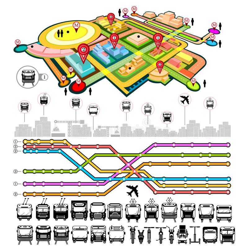 Transport info graphic with map of city, icons of transport and different communication royalty free illustration