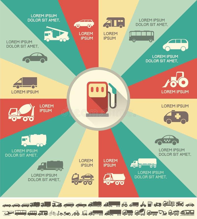 Transport Infographic-Schablone. lizenzfreie abbildung