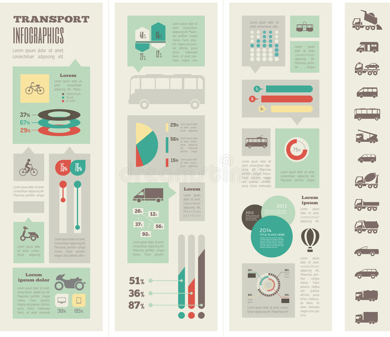 Transport Infographic-Schablone lizenzfreie abbildung