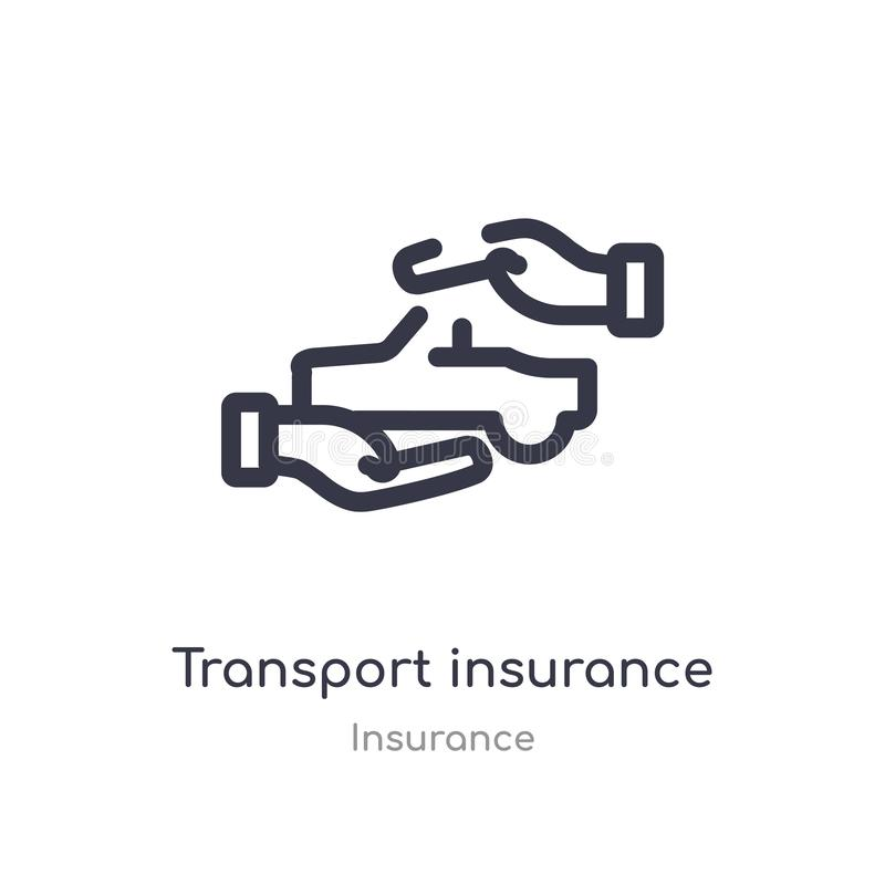 Transport insurance outline icon. isolated line vector illustration from insurance collection. editable thin stroke transport. Insurance icon on white stock illustration