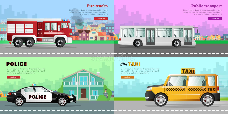 Transport Kolekcja Cztery samochodu obrazka ilustracja wektor