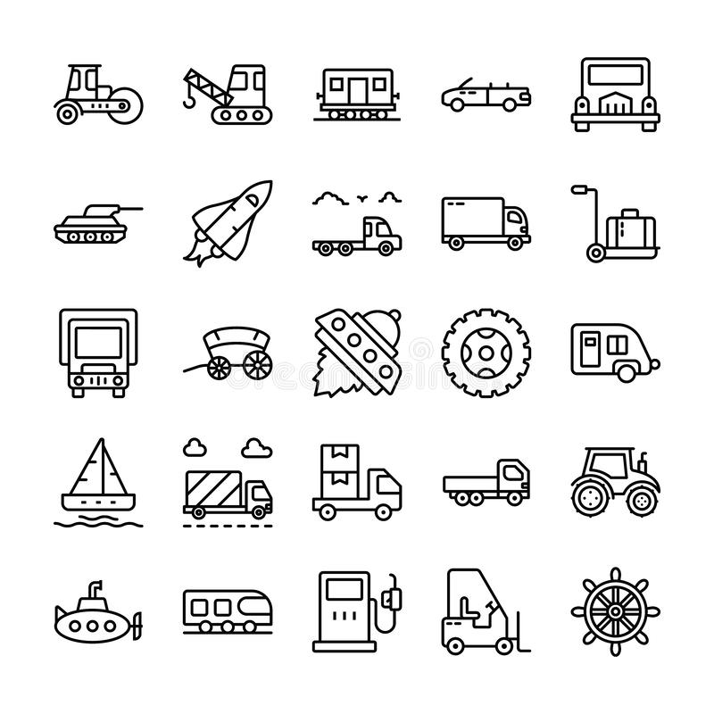 Transport kreskowe ikony ustawia? ilustracja wektor