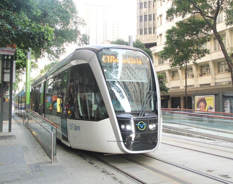 Transport léger Rio de Janeiro Brazil d'avenue du véhicule de rail VLT photos libres de droits