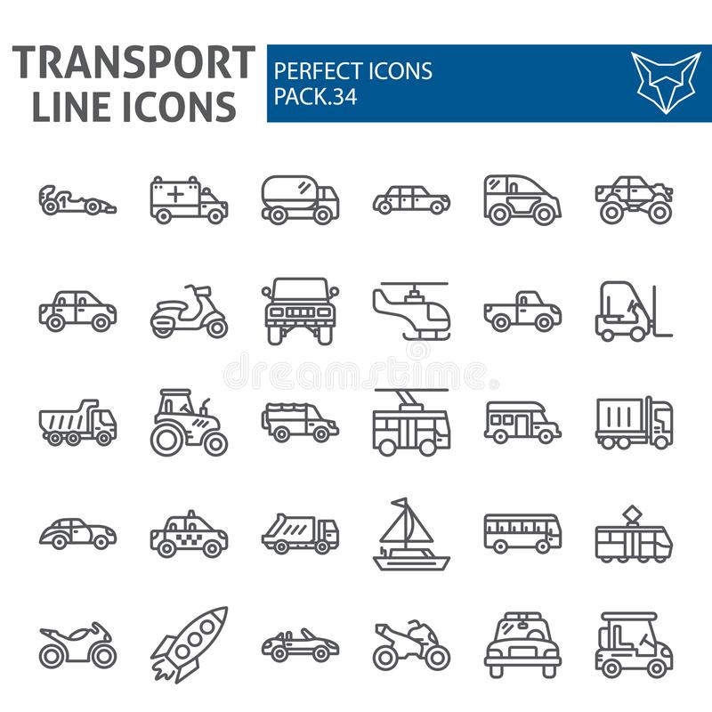 Transport line icon set, vehicle symbols collection, vector sketches, logo illustrations, traffic signs linear. Pictograms package isolated on white background royalty free illustration