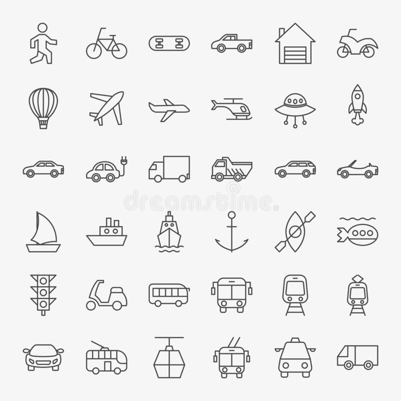 Transport Line Icons Set royalty free stock photography