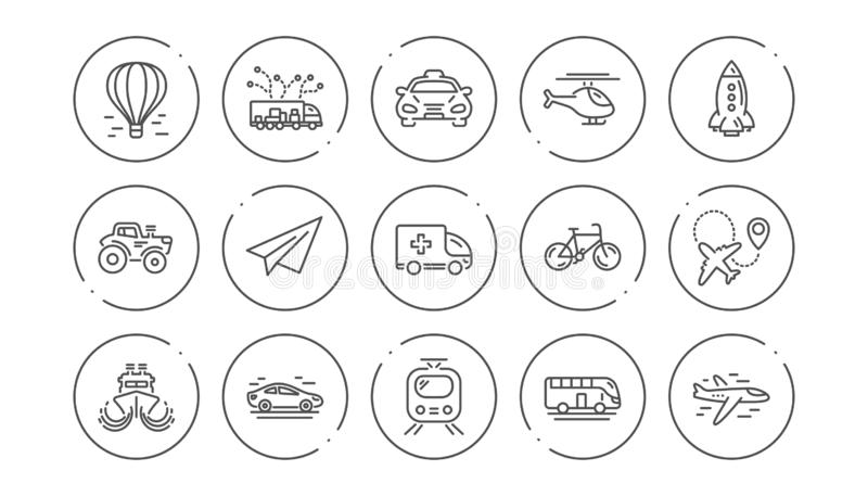 Transport line icons. Taxi, Helicopter and Train. Linear icon set. Vector vector illustration