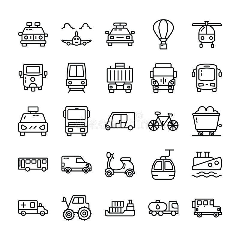 Transport-Linie Ikonen verpacken lizenzfreie abbildung
