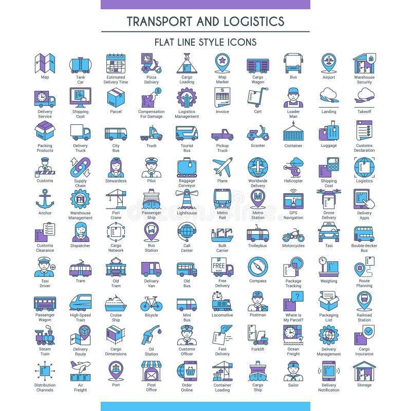 Transport and logistic big set stock illustration