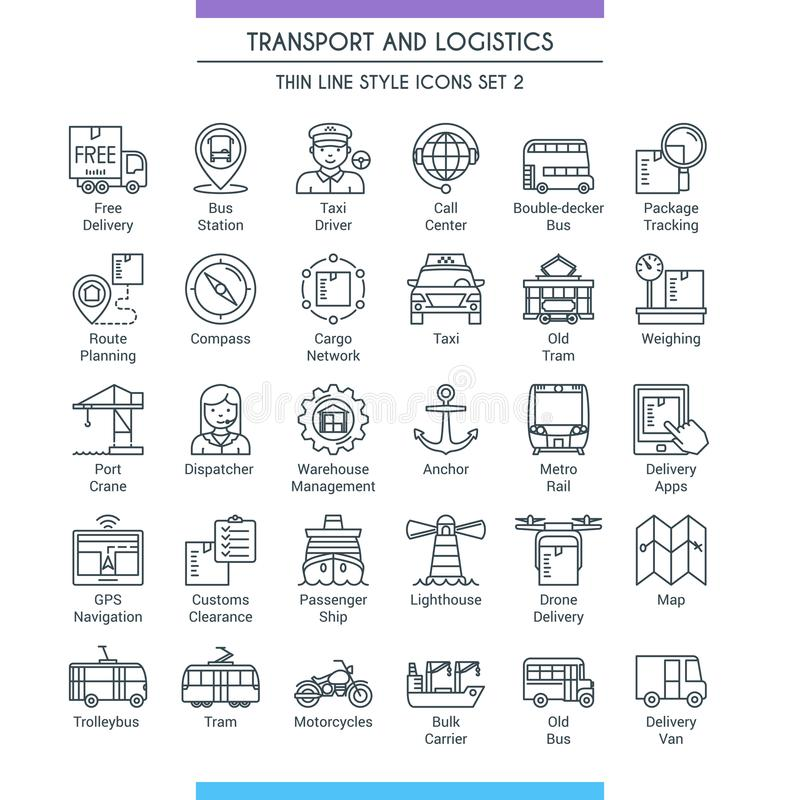 Transport and logistic line icons 02 vector illustration