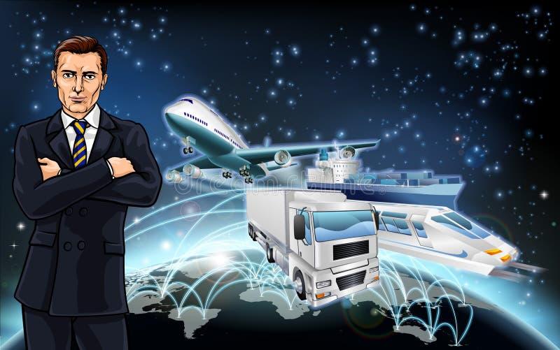 Transport Logistics Background Concept. Businessman world globe flight paths transport logistics background concept with plane, truck and train royalty free illustration