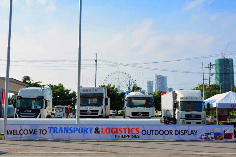 Transport and Logistics Philippines truck outdoor display. PASAY, PH - AUG. 17: on August 17, 2018 at Transport and Logistics in World Trade Center Metro Manila royalty free stock image