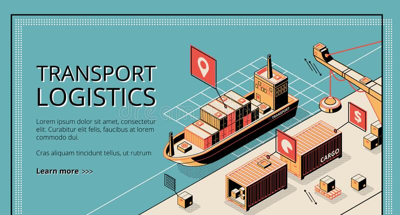 Transport logistics, ship port delivery service company. Landing page on retro colored background, cargo transportation, export, import over world. Isometric 3d vector illustration