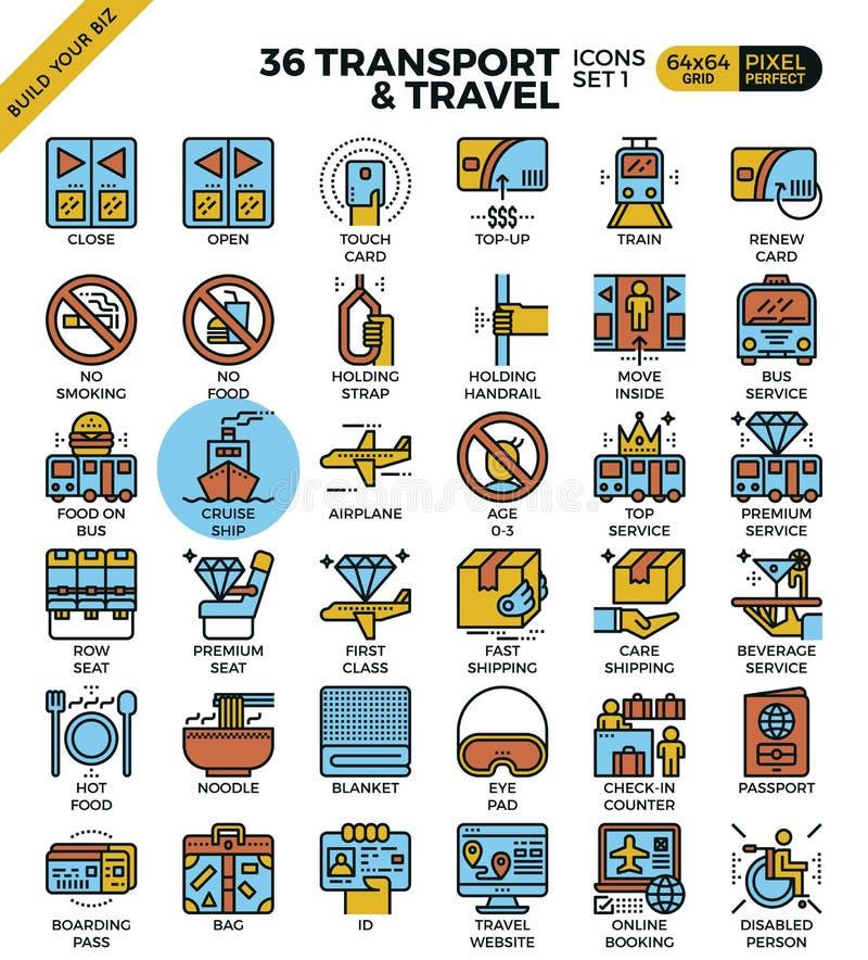 Transport- & loppöversiktssymboler royaltyfri illustrationer