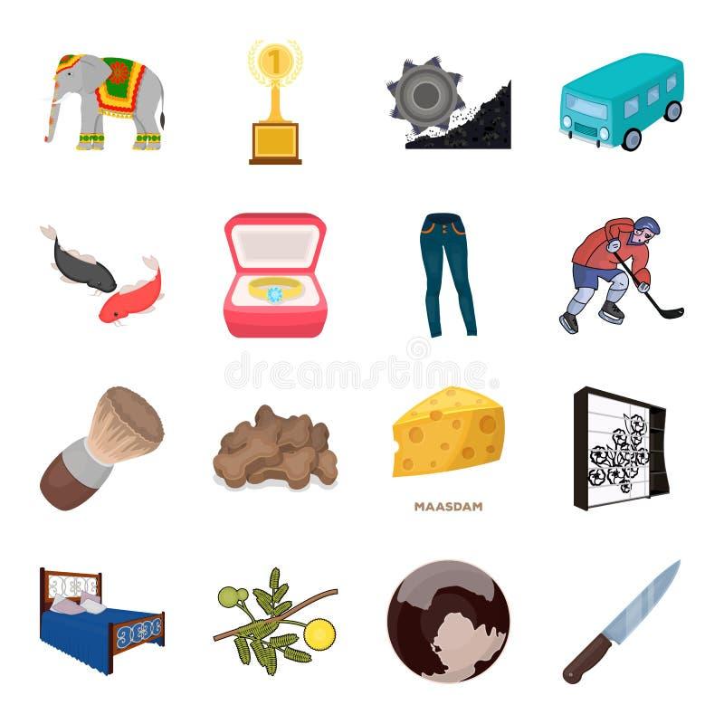 Transport, minen, utrymme och annan rengöringsduksymbol i tecknad film utformar Möblemang sport som gifta sig symboler i uppsättn royaltyfri illustrationer