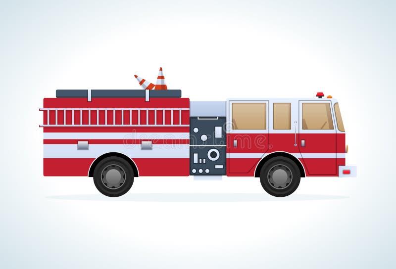 Transport moderne de ville Voiture de lutte contre l'incendie, vue de côté Mouvement de véhicule illustration de vecteur